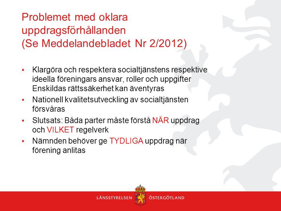 Problemet med oklara uppdragsförhållanden (Se Meddelandebladet Nr 2/2012) Klargöra och respektera socialtjänstens respektive ideella föreningars ansva