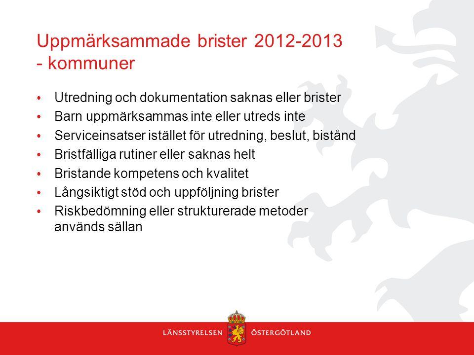 Uppmärksammade brister 2012-2013 - kommuner Utredning och dokumentation saknas eller brister Barn uppmärksammas inte eller utreds inte Serviceinsatser