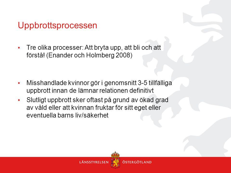 Uppbrottsprocessen Tre olika processer: Att bryta upp, att bli och att förstå! (Enander och Holmberg 2008) Misshandlade kvinnor gör i genomsnitt 3-5 t