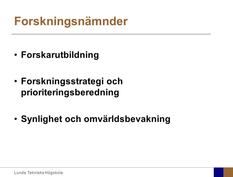Lunds Tekniska Högskola Forskningsnämnder Forskarutbildning Forskningsstrategi och prioriteringsberedning Synlighet och omvärldsbevakning