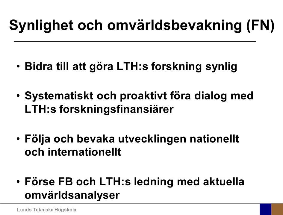Lunds Tekniska Högskola Synlighet och omvärldsbevakning (FN) Bidra till att göra LTH:s forskning synlig Systematiskt och proaktivt föra dialog med LTH:s forskningsfinansiärer Följa och bevaka utvecklingen nationellt och internationellt Förse FB och LTH:s ledning med aktuella omvärldsanalyser