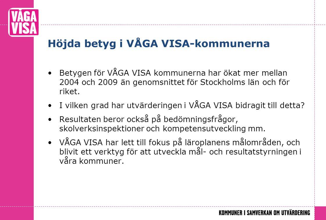 Höjda betyg i VÅGA VISA-kommunerna Betygen för VÅGA VISA kommunerna har ökat mer mellan 2004 och 2009 än genomsnittet för Stockholms län och för riket.