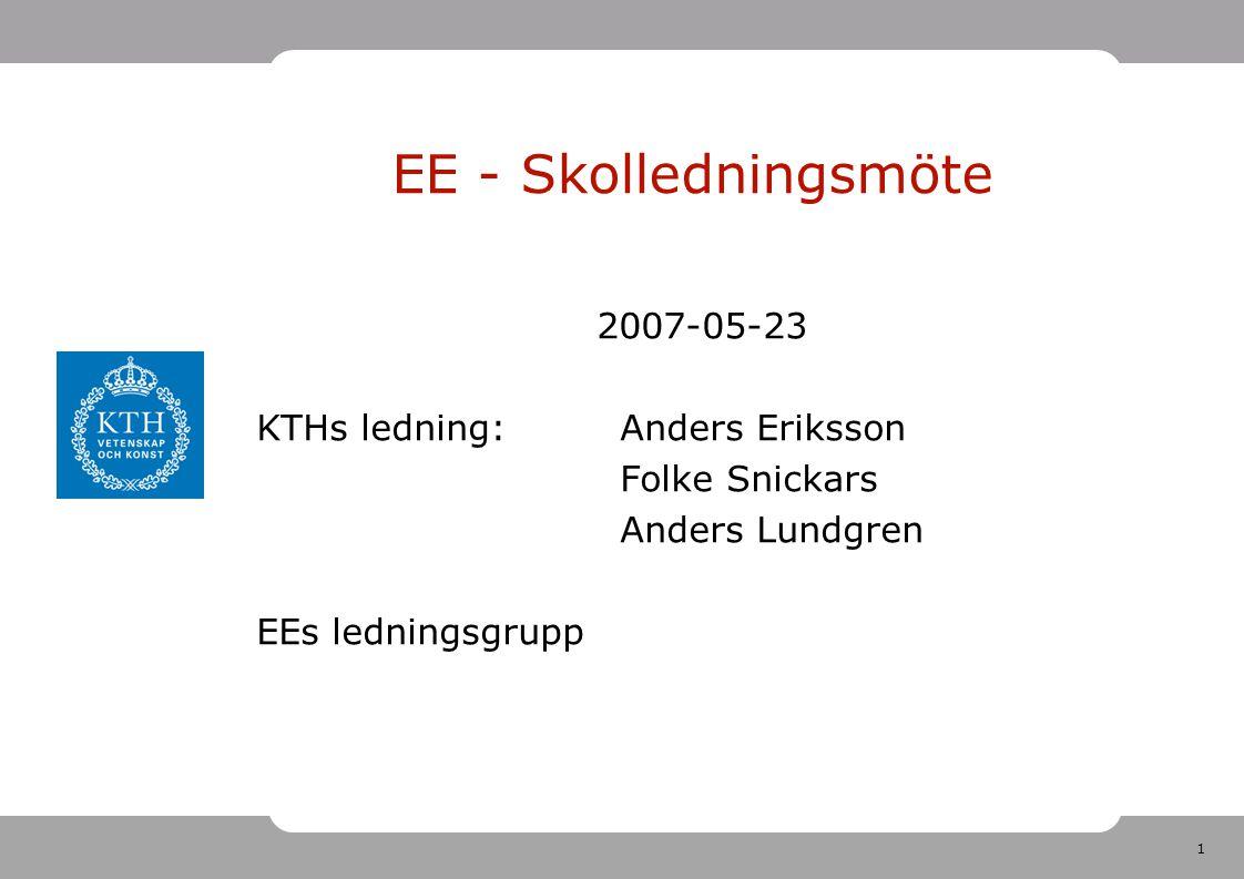 1 2007-05-23 KTHs ledning:Anders Eriksson Folke Snickars Anders Lundgren EEs ledningsgrupp EE - Skolledningsmöte