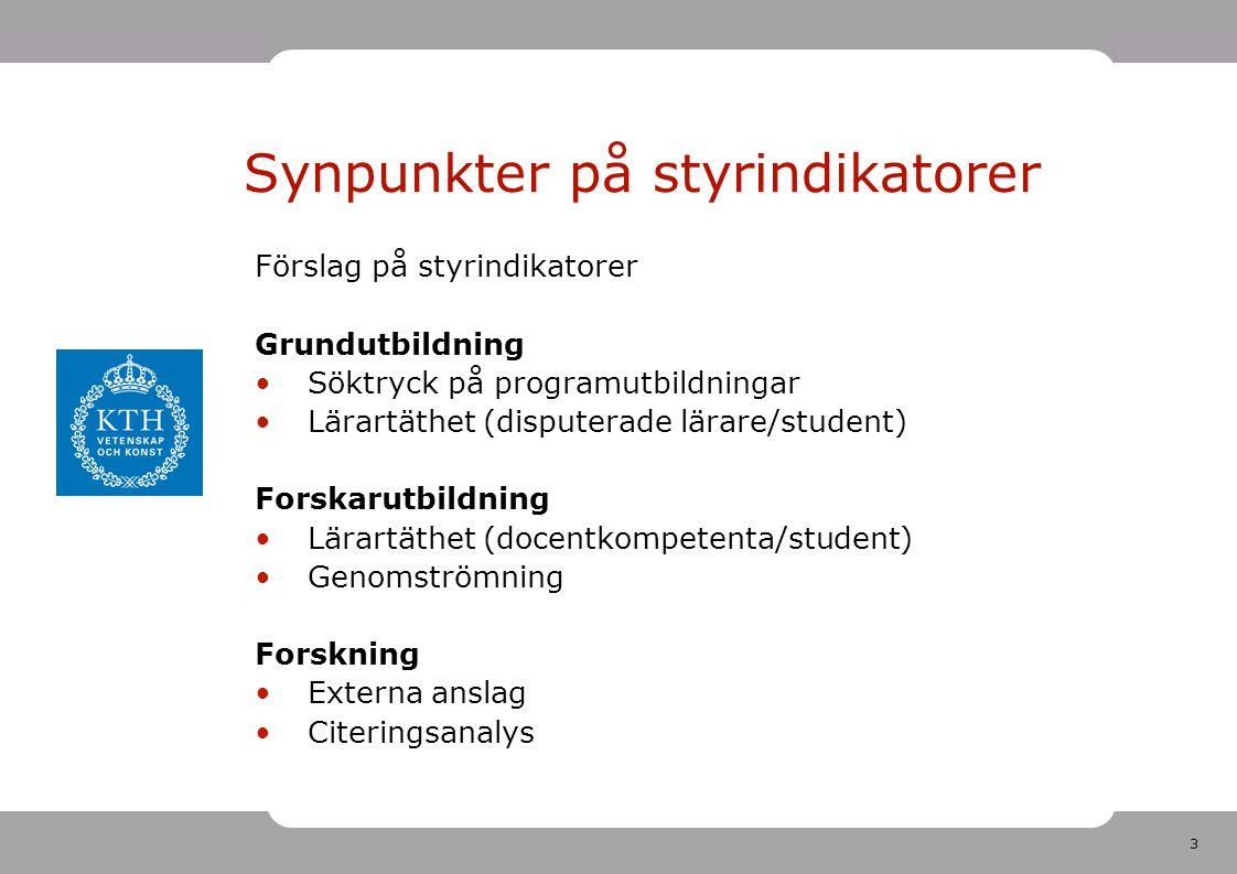 3 Förslag på styrindikatorer Grundutbildning Söktryck på programutbildningar Lärartäthet (disputerade lärare/student) Forskarutbildning Lärartäthet (d