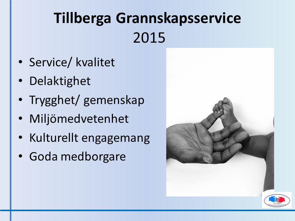Service/ kvalitet Delaktighet Trygghet/ gemenskap Miljömedvetenhet Kulturellt engagemang Goda medborgare Tillberga Grannskapsservice 2015