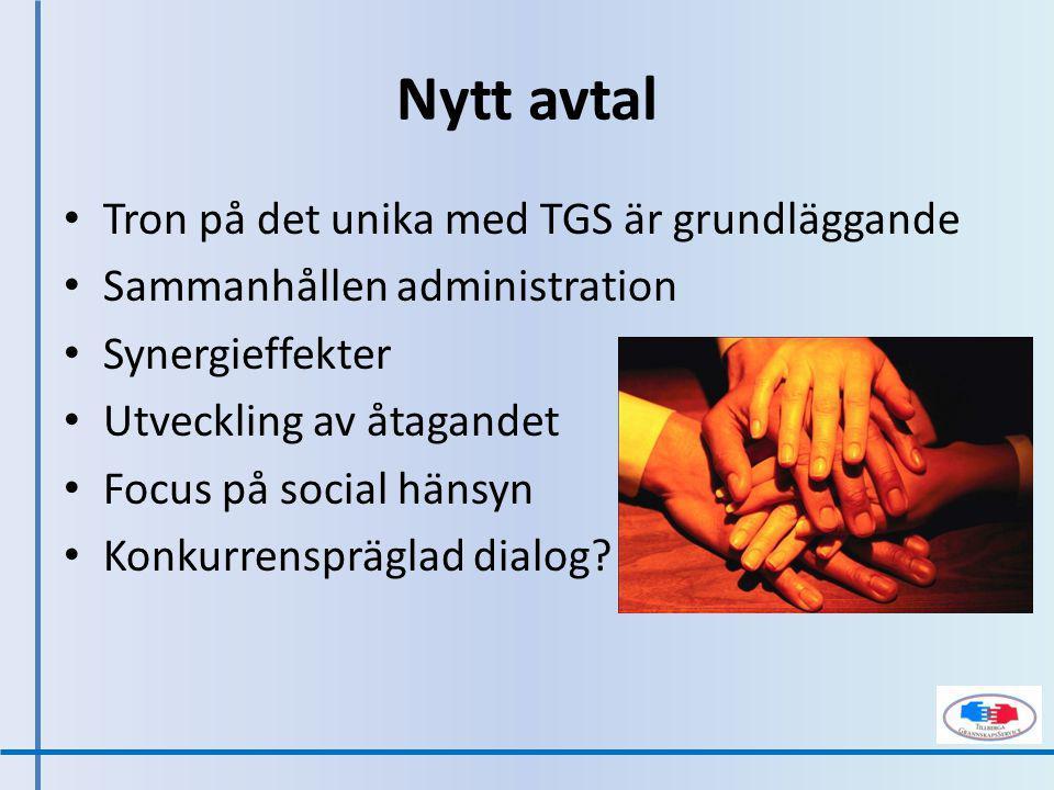 Tron på det unika med TGS är grundläggande Sammanhållen administration Synergieffekter Utveckling av åtagandet Focus på social hänsyn Konkurrenspräglad dialog