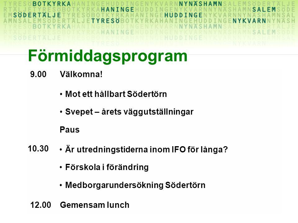 Förmiddagsprogram 9.00Välkomna! Mot ett hållbart Södertörn Svepet – årets väggutställningar Paus Är utredningstiderna inom IFO för långa? Förskola i f