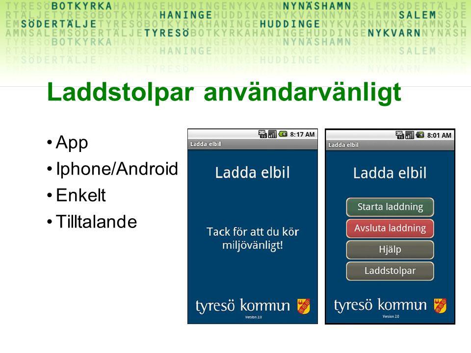 Laddstolpar användarvänligt App Iphone/Android Enkelt Tilltalande