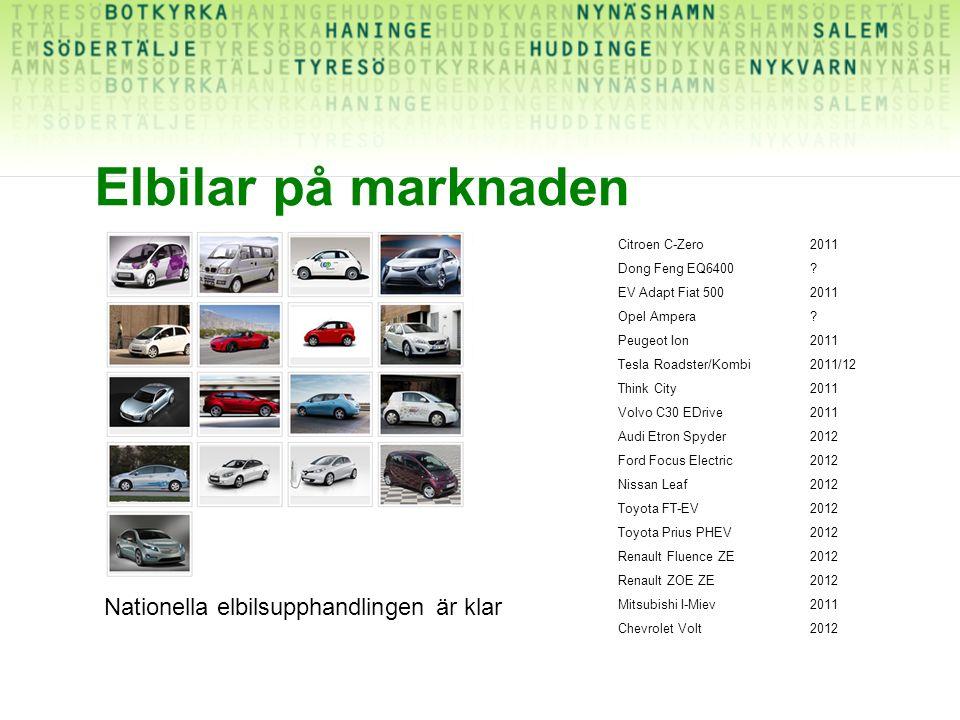 Elbilar på marknaden Citroen C-Zero2011 Dong Feng EQ6400? EV Adapt Fiat 5002011 Opel Ampera? Peugeot Ion2011 Tesla Roadster/Kombi2011/12 Think City201