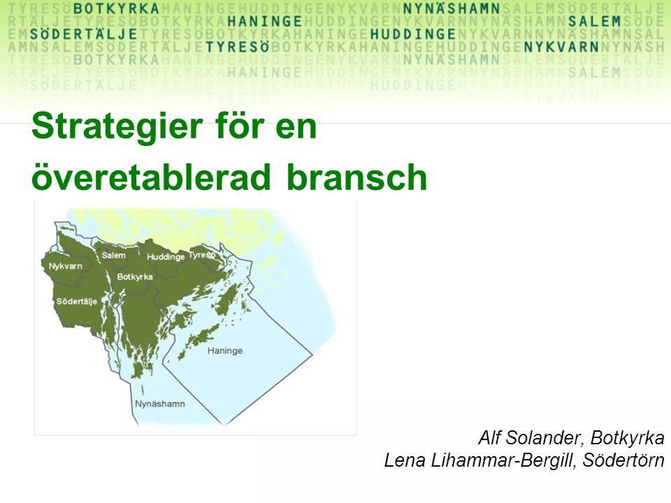 Strategier för en överetablerad bransch Alf Solander, Botkyrka Lena Lihammar-Bergill, Södertörn
