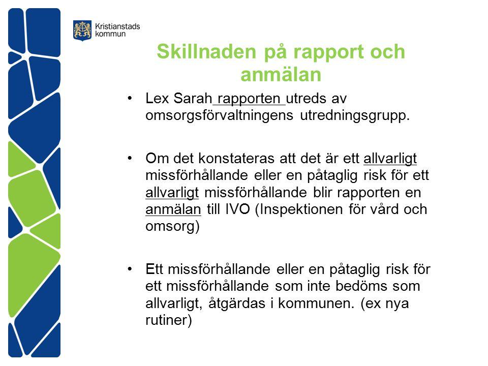 Skillnaden på rapport och anmälan Lex Sarah rapporten utreds av omsorgsförvaltningens utredningsgrupp.