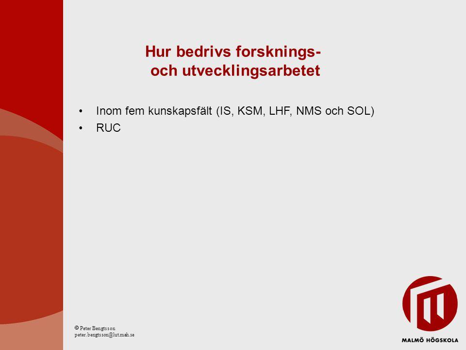 Hur bedrivs forsknings- och utvecklingsarbetet Inom fem kunskapsfält (IS, KSM, LHF, NMS och SOL) RUC  Peter Bengtsson peter.bengtsson@lut.mah.se