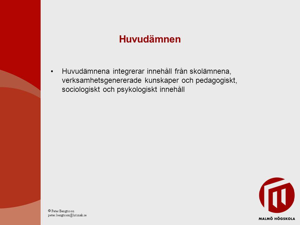 Huvudämnen Huvudämnena integrerar innehåll från skolämnena, verksamhetsgenererade kunskaper och pedagogiskt, sociologiskt och psykologiskt innehåll  Peter Bengtsson peter.bengtsson@lut.mah.se