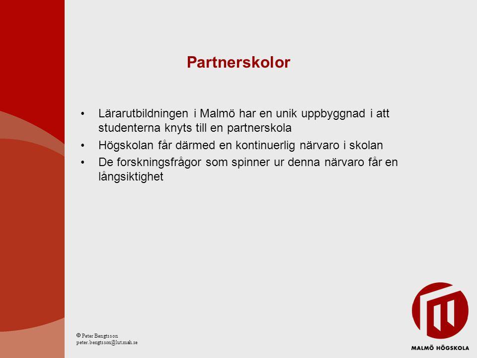 Partnerskolor Lärarutbildningen i Malmö har en unik uppbyggnad i att studenterna knyts till en partnerskola Högskolan får därmed en kontinuerlig närva