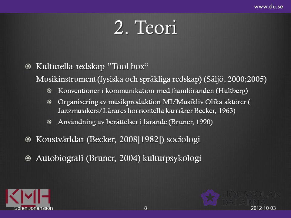 """2. Teori Kulturella redskap """"Tool box"""" Musikinstrument (fysiska och språkliga redskap) (Säljö, 2000;2005) Konventioner i kommunikation med framförande"""