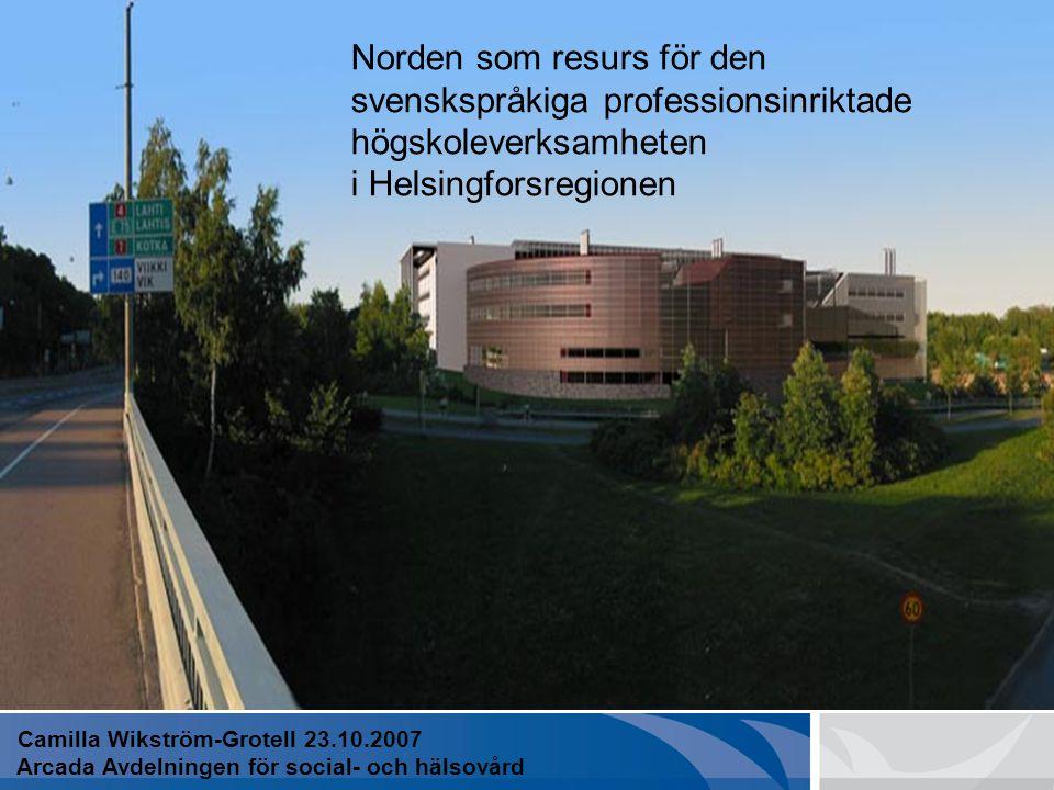 EN PROFESSIONSINRIKTAD HÖGSKOLA Kompletteringsutbildningen 25.1.2007 Avdelningen för social- och hälsovård Camilla Wikström-Grotell Avdelningschef Cam