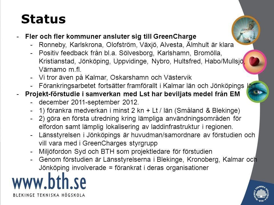 -Fler och fler kommuner ansluter sig till GreenCharge -Ronneby, Karlskrona, Olofström, Växjö, Alvesta, Älmhult är klara -Positiv feedback från bl.a.