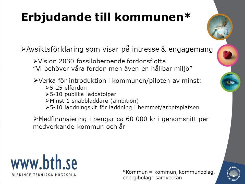 Erbjudande till kommunen*  Avsiktsförklaring som visar på intresse & engagemang  Vision 2030 fossiloberoende fordonsflotta Vi behöver våra fordon men även en hållbar miljö  Verka för introduktion i kommunen/piloten av minst:  5-25 elfordon  5-10 publika laddstolpar  Minst 1 snabbladdare (ambition)  5-10 laddningskit för laddning i hemmet/arbetsplatsen  Medfinansiering i pengar ca 60 000 kr i genomsnitt per medverkande kommun och år *Kommun = kommun, kommunbolag, energibolag i samverkan