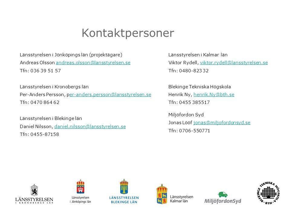 Kontaktpersoner Länsstyrelsen i Jönköpings län (projektägare) Andreas Olsson andreas.olsson@lansstyrelsen.seandreas.olsson@lansstyrelsen.se Tfn: 036 39 51 57 Länsstyrelsen i Kronobergs län Per-Anders Persson, per-anders.persson@lansstyrelsen.seer-anders.persson@lansstyrelsen.se Tfn: 0470 864 62 Länsstyrelsen i Blekinge län Daniel Nilsson, daniel.nilsson@lansstyrelsen.sedaniel.nilsson@lansstyrelsen.se Tfn: 0455-87158 Länsstyrelsen i Kalmar län Viktor Rydell, viktor.rydell@lansstyrelsen.seviktor.rydell@lansstyrelsen.se Tfn: 0480-823 32 Blekinge Tekniska Högskola Henrik Ny, henrik.Ny@bth.sehenrik.Ny@bth.se Tfn: 0455 385517 Miljöfordon Syd Jonas Lööf jonas@miljofordonsyd.sejonas@miljofordonsyd.se Tfn: 0706-550771
