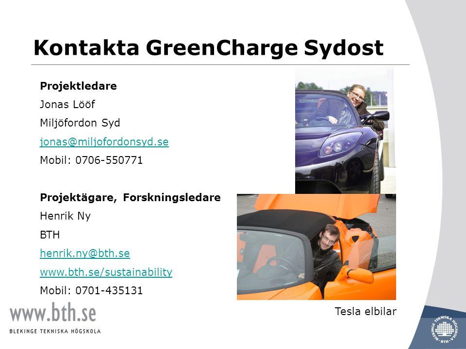 www.miljofordonsyd.se Projektledare Jonas Lööf Miljöfordon Syd jonas@miljofordonsyd.se Mobil: 0706-550771 Projektägare, Forskningsledare Henrik Ny BTH henrik.ny@bth.se www.bth.se/sustainability Mobil: 0701-435131 Tesla elbilar Kontakta GreenCharge Sydost