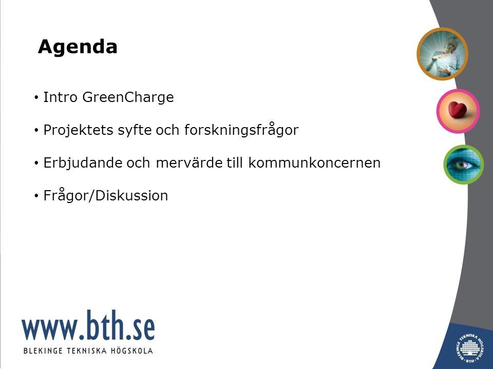 Intro GreenCharge Projektets syfte och forskningsfrågor Erbjudande och mervärde till kommunkoncernen Frågor/Diskussion Agenda