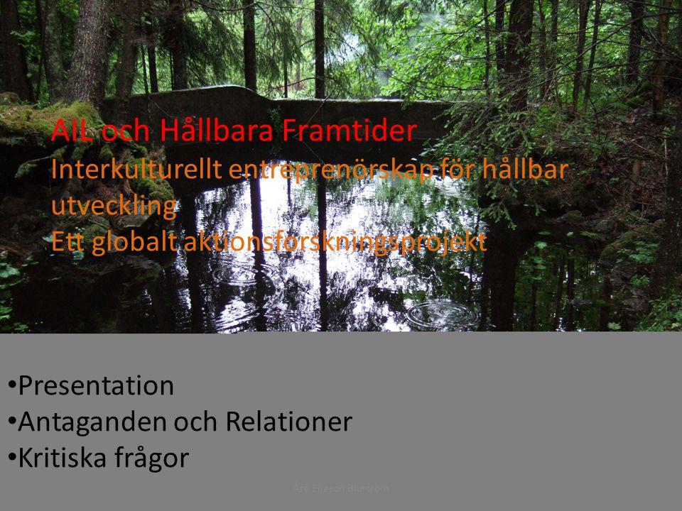 AIL och Hållbara Framtider Interkulturellt Entreprenörskap för Hållbar Utveckling Ett globalt aktionforskningsprojekt AIL och Hållbara Framtider Interkulturellt entreprenörskap för hållbar utveckling Ett globalt aktionsforskningsprojekt Presentation Antaganden och Relationer Kritiska frågor Åse Eliason Bjurtröm