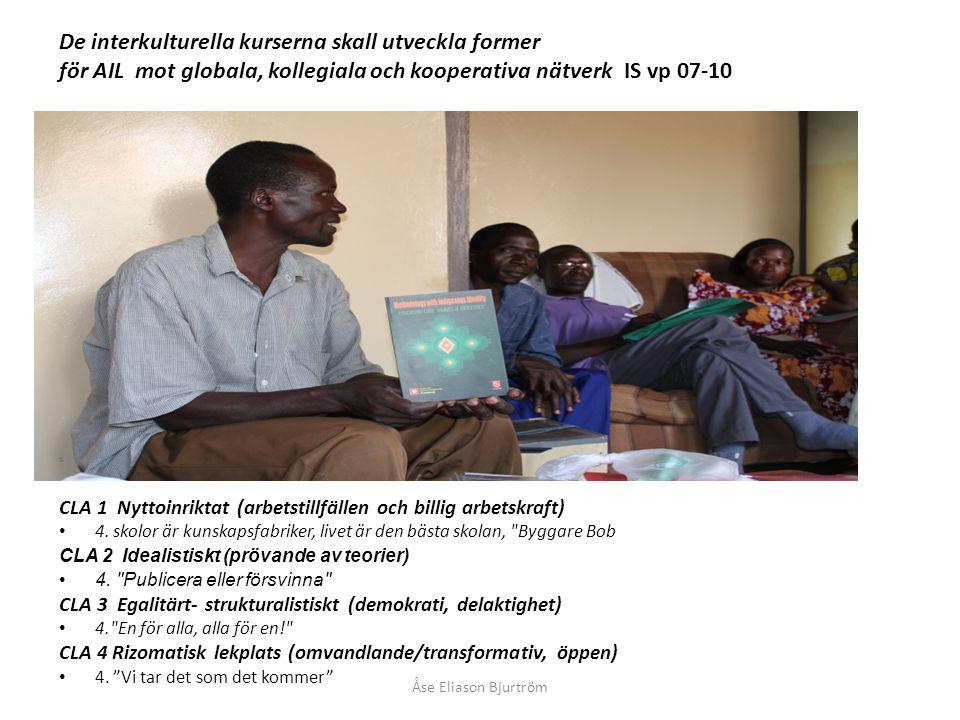 De interkulturella kurserna skall utveckla former för AIL mot globala, kollegiala och kooperativa nätverk IS vp 07-10 CLA 1 Nyttoinriktat (arbetstillfällen och billig arbetskraft) 4.