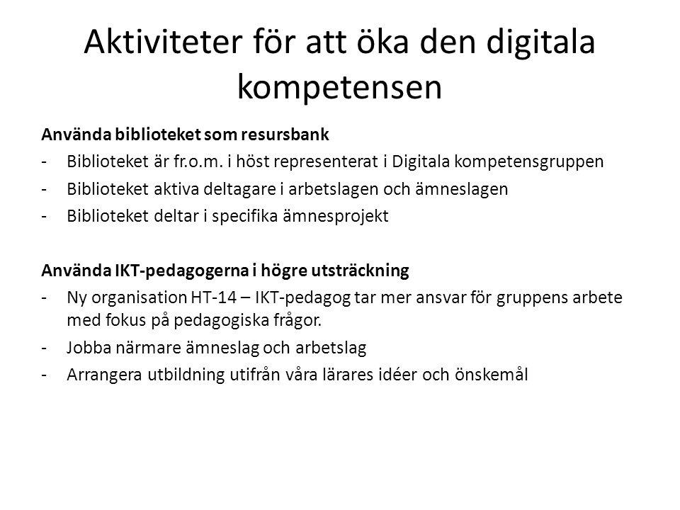 Aktiviteter för att öka den digitala kompetensen Använda biblioteket som resursbank -Biblioteket är fr.o.m.