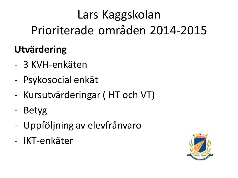 Lars Kaggskolan Prioriterade områden 2014-2015 Utvärdering -3 KVH-enkäten -Psykosocial enkät -Kursutvärderingar ( HT och VT) -Betyg -Uppföljning av elevfrånvaro -IKT-enkäter
