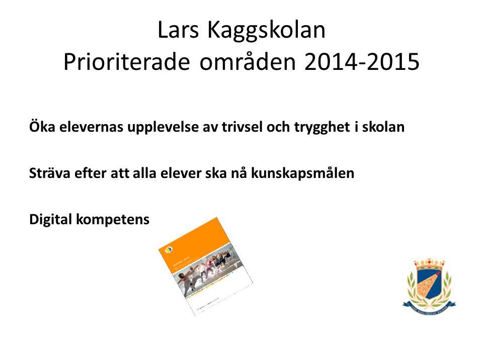Lars Kaggskolan Prioriterade områden 2014-2015 Öka elevernas upplevelse av trivsel och trygghet i skolan Utveckla elevernas möjlighet till inflytande över undervisningen Diskutera värdegrundsfrågor och förhållningssätt Förebygga frånvaro och främja närvaro Utveckla samarbete mellan elevhälsan och arbetslag