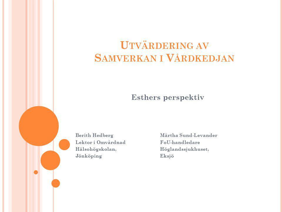 I NLEDNING Esther-projektet inom Höglandets sjukvårdsområde Bättre samverkan förbättrar omhändertagandet av äldre personer och underlättar deras väg genom vårdkedjan.