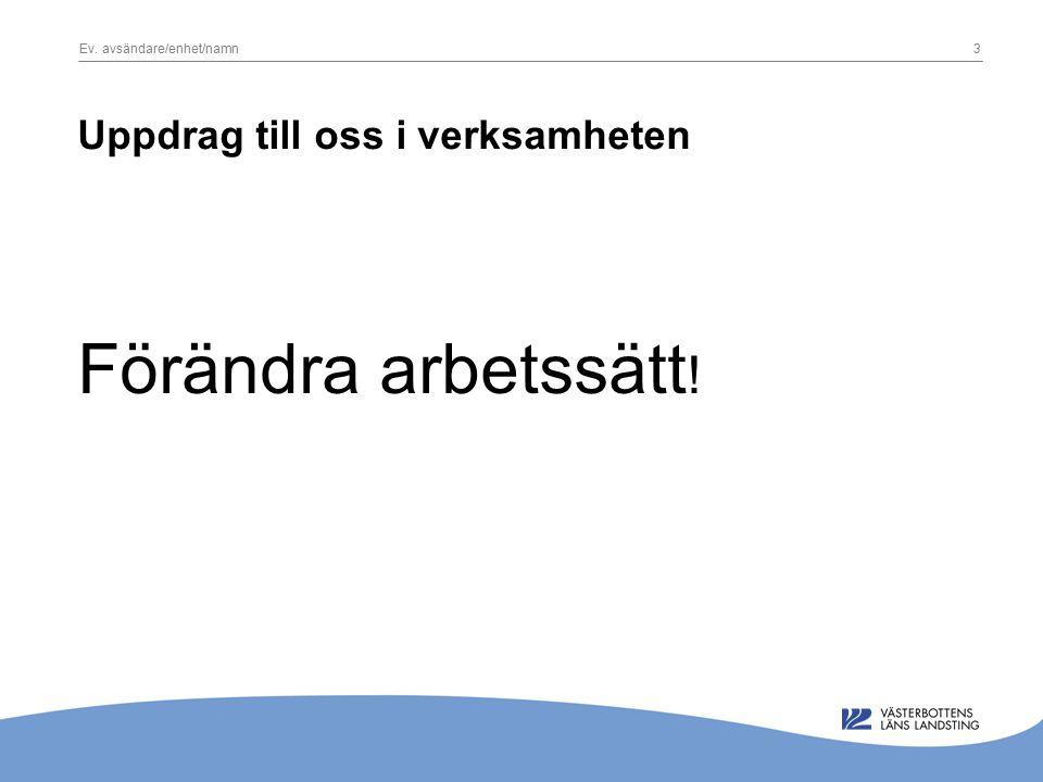 Ev. avsändare/enhet/namn3 Uppdrag till oss i verksamheten Förändra arbetssätt !