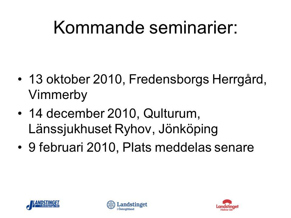 Kommande seminarier: 13 oktober 2010, Fredensborgs Herrgård, Vimmerby 14 december 2010, Qulturum, Länssjukhuset Ryhov, Jönköping 9 februari 2010, Plat