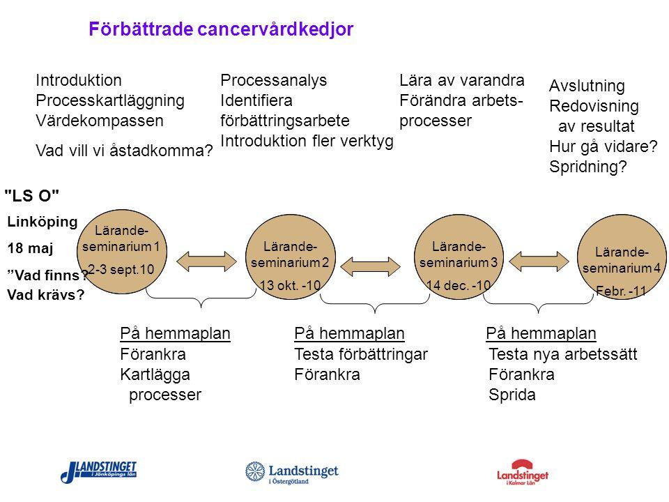 Förbättrade cancervårdkedjor Introduktion Processkartläggning Värdekompassen Vad vill vi åstadkomma? Lärande- seminarium 1 2-3 sept.10 Lärande- semina