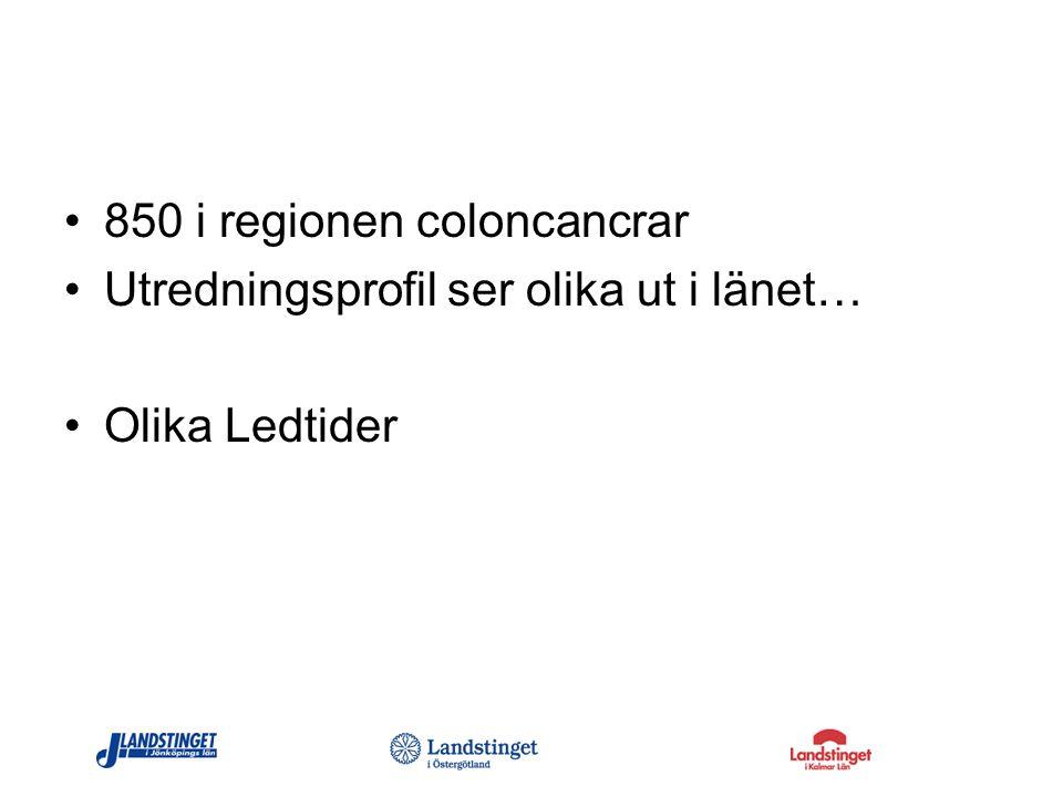 850 i regionen coloncancrar Utredningsprofil ser olika ut i länet… Olika Ledtider