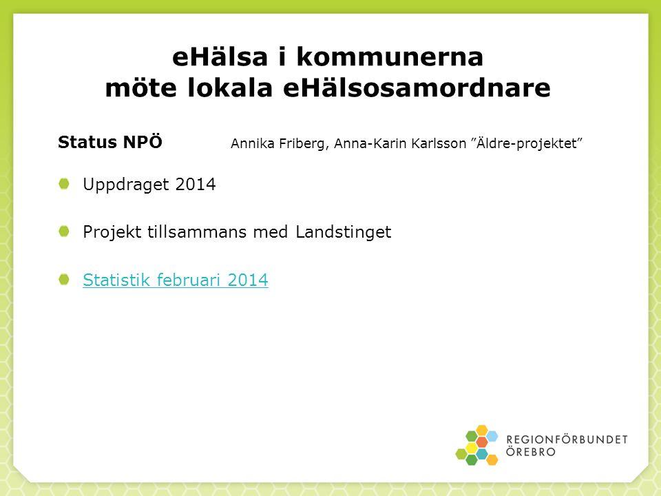"""eHälsa i kommunerna möte lokala eHälsosamordnare Status NPÖ Annika Friberg, Anna-Karin Karlsson """"Äldre-projektet"""" Uppdraget 2014 Projekt tillsammans m"""