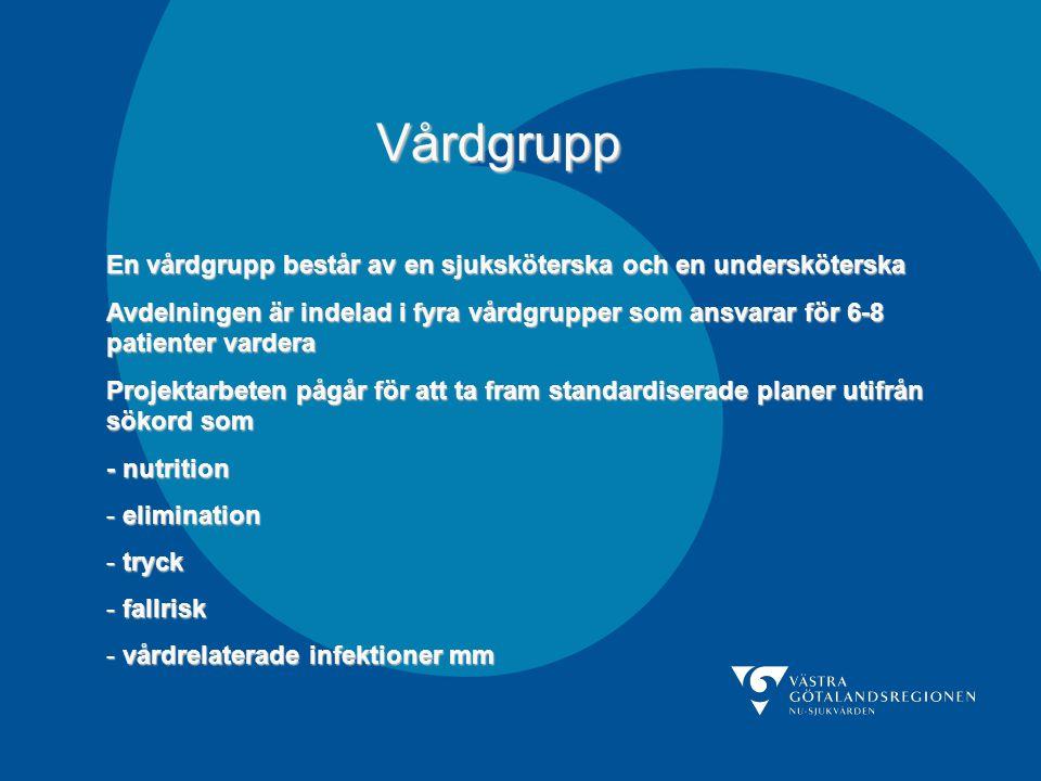 Vårdgrupp En vårdgrupp består av en sjuksköterska och en undersköterska Avdelningen är indelad i fyra vårdgrupper som ansvarar för 6-8 patienter varde