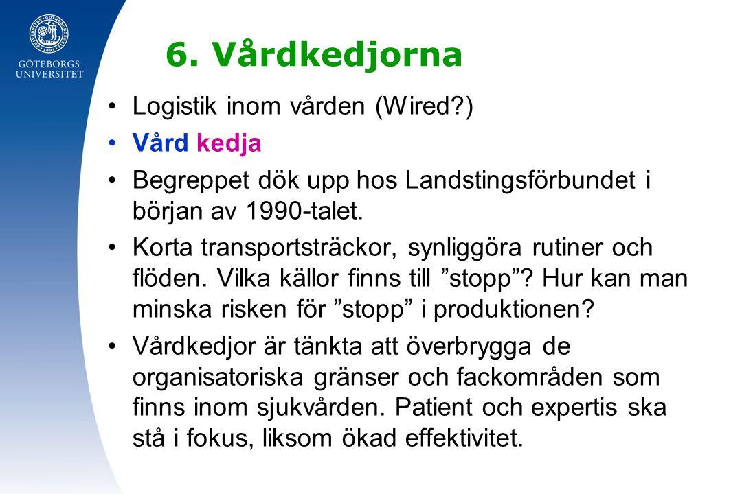 6. Vårdkedjorna Logistik inom vården (Wired?) Vård kedja Begreppet dök upp hos Landstingsförbundet i början av 1990-talet. Korta transportsträckor, sy