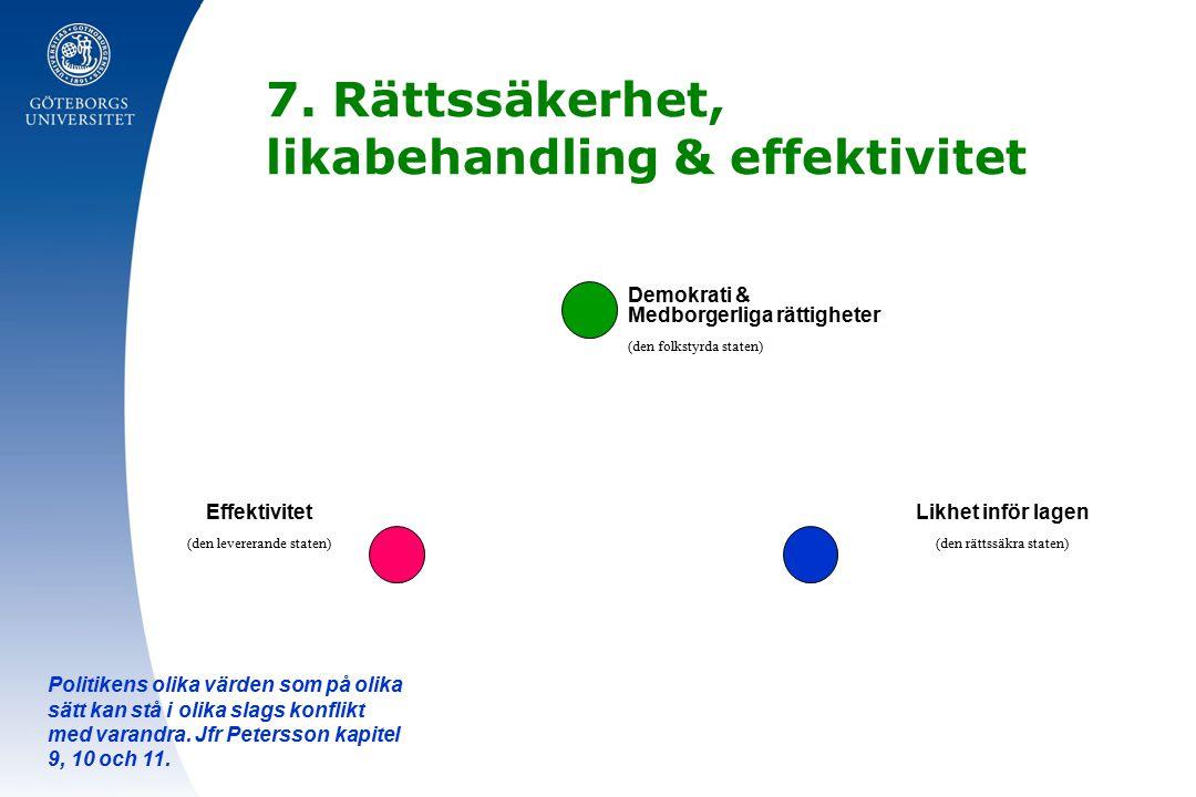7. Rättssäkerhet, likabehandling & effektivitet Politikens olika värden som på olika sätt kan stå i olika slags konflikt med varandra. Jfr Petersson k