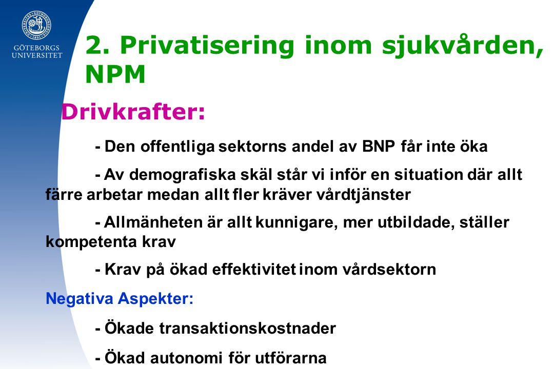 2. Privatisering inom sjukvården, NPM Drivkrafter: - Den offentliga sektorns andel av BNP får inte öka - Av demografiska skäl står vi inför en situati
