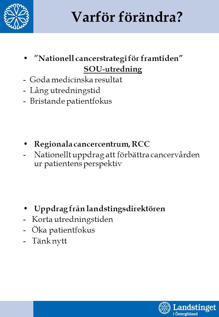 """Varför förändra? """"Nationell cancerstrategi för framtiden"""" SOU-utredning - Goda medicinska resultat - Lång utredningstid - Bristande patientfokus Regio"""