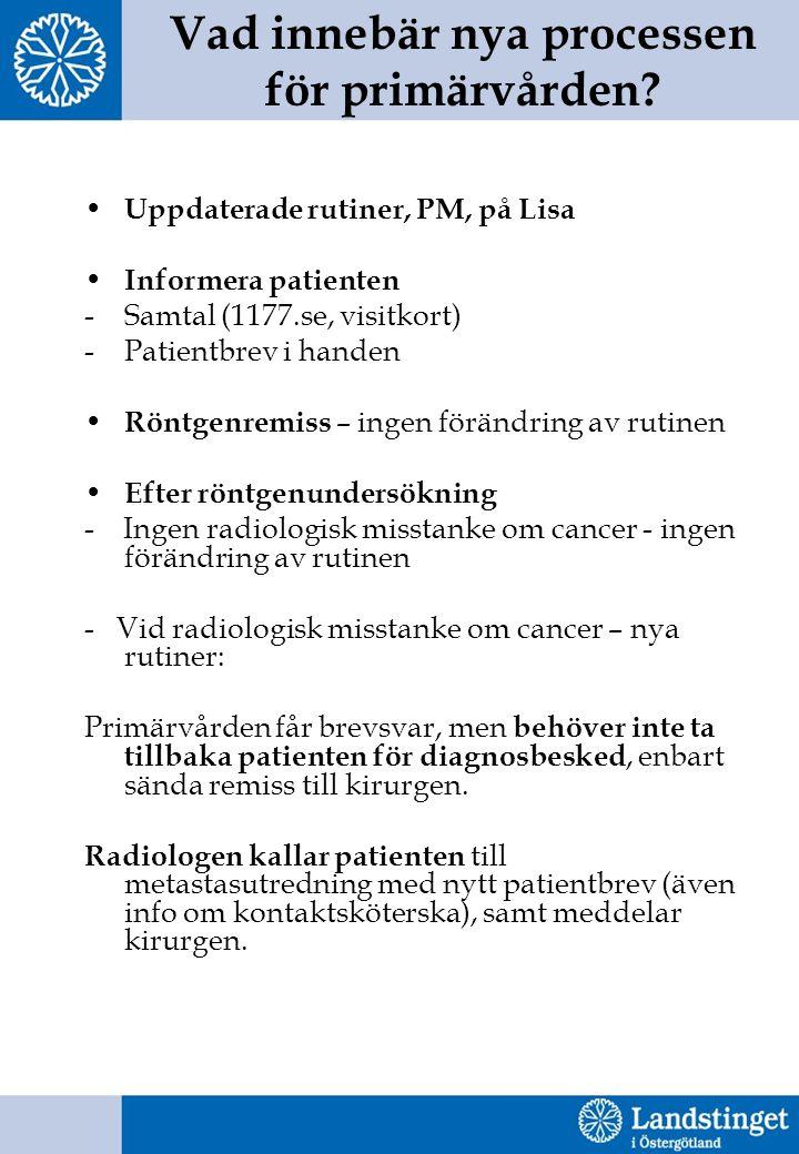 Vad innebär nya processen för primärvården? Uppdaterade rutiner, PM, på Lisa Informera patienten -Samtal (1177.se, visitkort) -Patientbrev i handen Rö