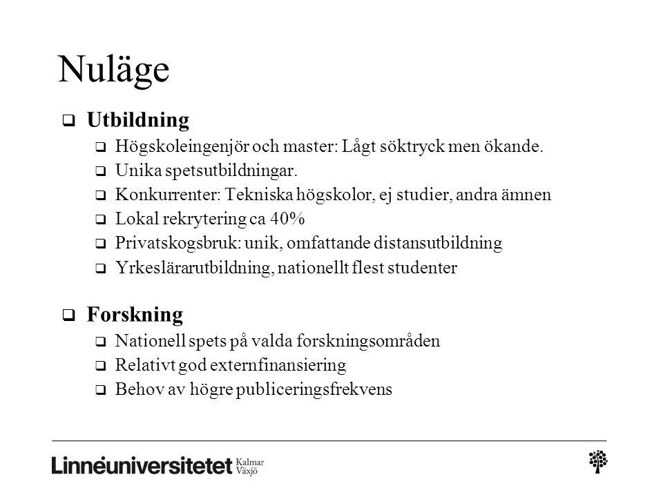 Nuläge  Utbildning  Högskoleingenjör och master: Lågt söktryck men ökande.
