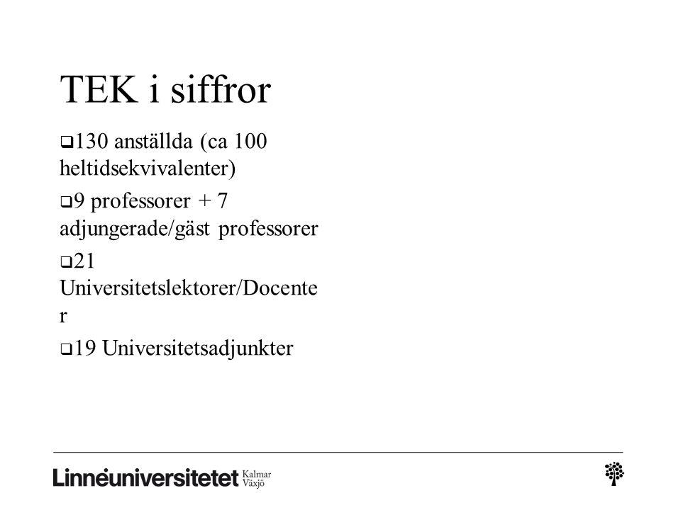 TEK i siffror  130 anställda (ca 100 heltidsekvivalenter)  9 professorer + 7 adjungerade/gäst professorer  21 Universitetslektorer/Docente r  19 Universitetsadjunkter