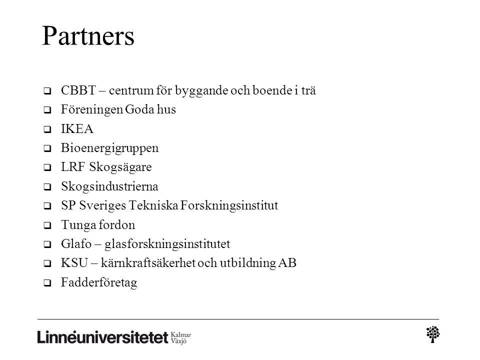 Partners  CBBT – centrum för byggande och boende i trä  Föreningen Goda hus  IKEA  Bioenergigruppen  LRF Skogsägare  Skogsindustrierna  SP Sveriges Tekniska Forskningsinstitut  Tunga fordon  Glafo – glasforskningsinstitutet  KSU – kärnkraftsäkerhet och utbildning AB  Fadderföretag