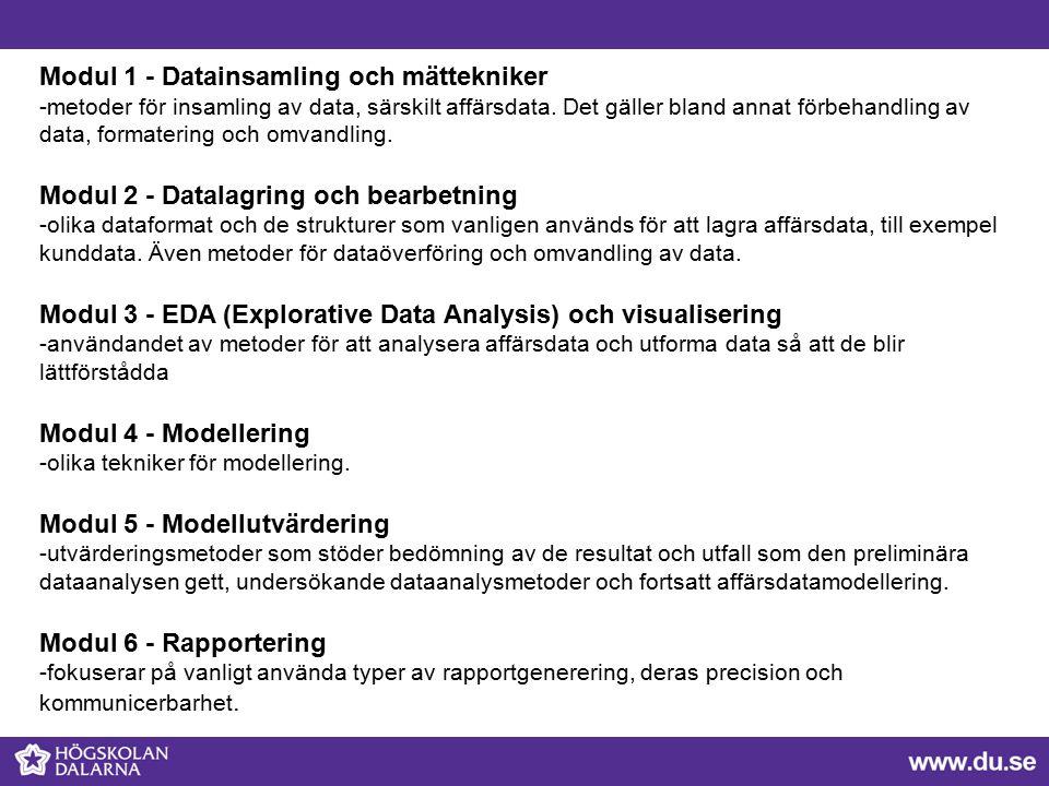 Modul 1 - Datainsamling och mättekniker -metoder för insamling av data, särskilt affärsdata.