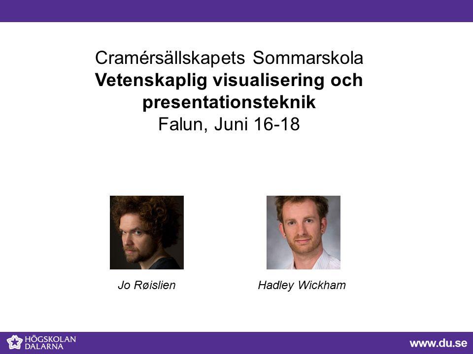 Cramérsällskapets Sommarskola Vetenskaplig visualisering och presentationsteknik Falun, Juni 16-18 Jo RøislienHadley Wickham