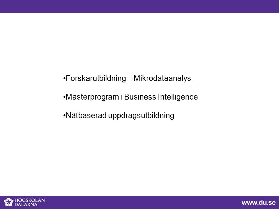 Forskarutbildning – Mikrodataanalys Masterprogram i Business Intelligence Nätbaserad uppdragsutbildning