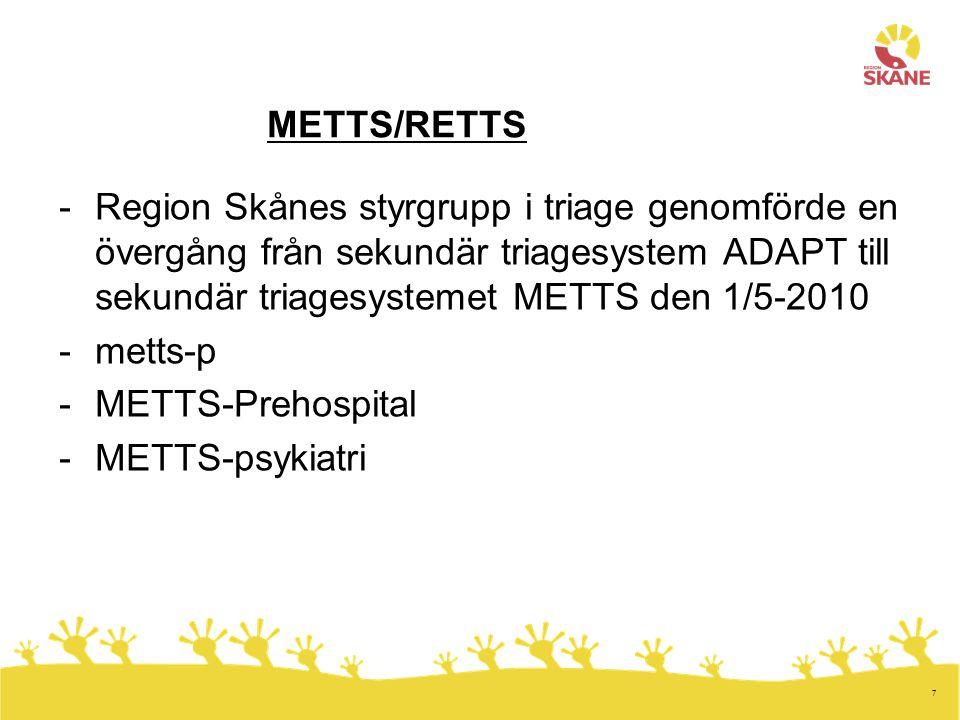 7 METTS/RETTS -Region Skånes styrgrupp i triage genomförde en övergång från sekundär triagesystem ADAPT till sekundär triagesystemet METTS den 1/5-201