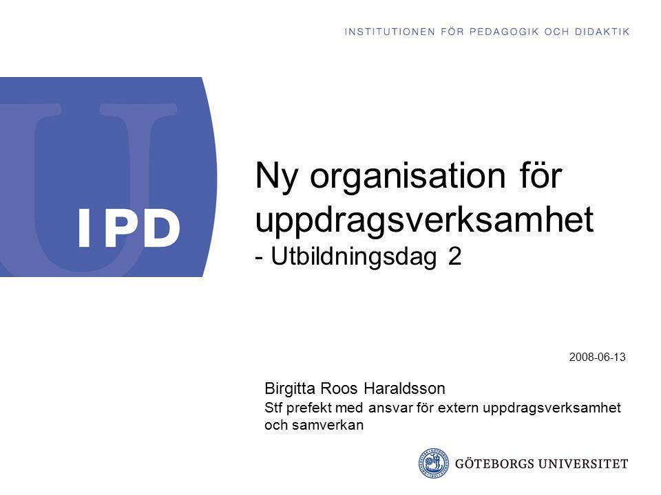 2008-06-13 Birgitta Roos Haraldsson Stf prefekt med ansvar för extern uppdragsverksamhet och samverkan Ny organisation för uppdragsverksamhet - Utbild